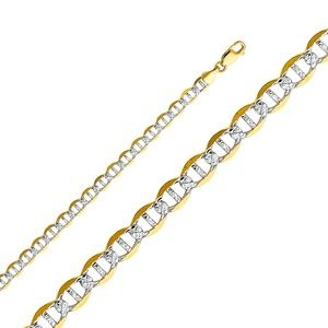 14K Yellow 6.5mm Flat Mariner Pave bracelet - 8""